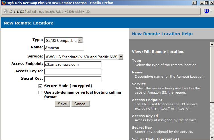 Reverse Cloud Backup Amazon S3 NetSwap Setup Screen